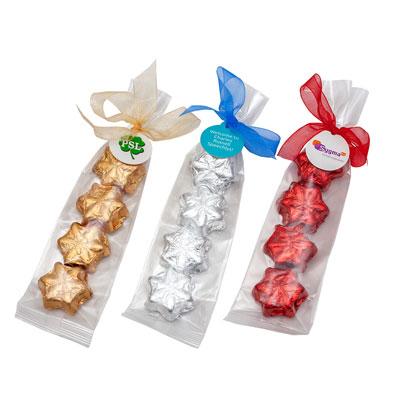 4 CHOCOLATES ETOILES EN POLYBAG AVEC ETIQUETTE PROMOTIONELLE