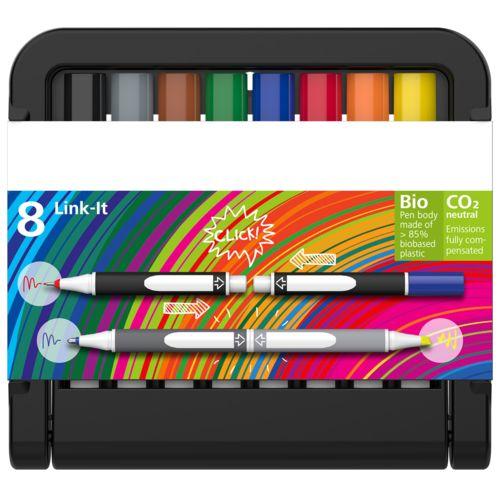 Link-It Fineliner, boîte à 8 stylos