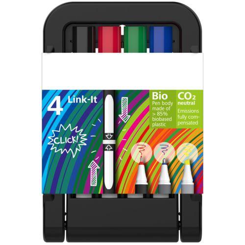 Link-It Fineliner, boîte à 4 stylos