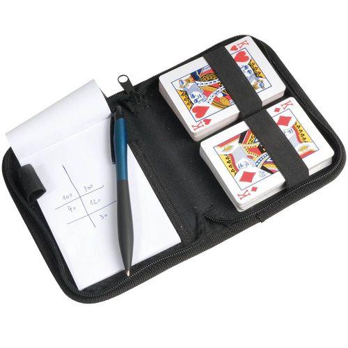 Set de 2 jeux de cartes avec bloc-notes et stylo dans étui en polyester 600D avec fermeture éclair