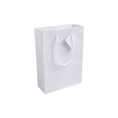 Shopper avec soufflet en carte laminée 157 g/m2 avec renforcement à la base, anses en corde et petite corde