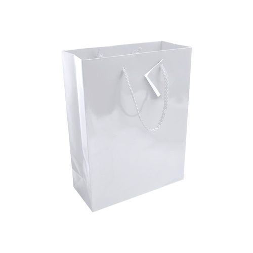 Shopper avec soufflet en carte laminée 157g/m2 avec renforcement au fond, anses en corde et petite carte
