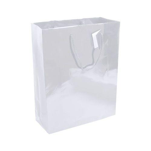 Shopper avec soufflet en papier laminé 157 g/m2 avec renforcement au fond, anses en corde et petite carte