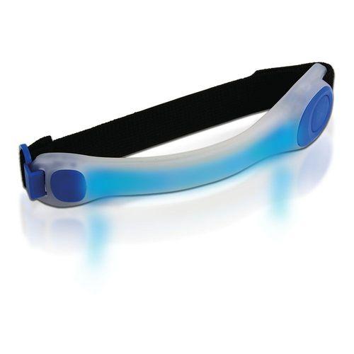 Lumière de sécurité avec LED, de couleur BLEUE, en plastique caoutchouté avec bracelet, fermeture en velcro, mode lumière fixe et intermittente, idéale pour la course (pile bouton incluse)
