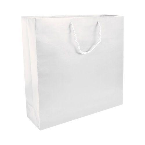 Shopper avec soufflet en papier laminé opaque 157 g/m2 avec renforcement au fond, anses en corde