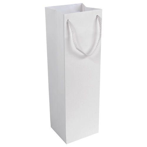 Shopper avec soufflet porte-bouteille en papier laminé opaque 157 g/m2 avec renforcement au fond, anses en cordon