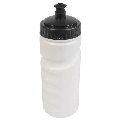 Gourde en plastique (500 ml9 blanche avec bouchon coloré (19 cm de haut pour 6,5 cm de diamètre)
