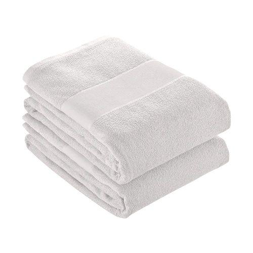 Serviette en éponge de coton 100% (350 g/m2) avec bande OPAQUE imprimable (90x150 cm)
