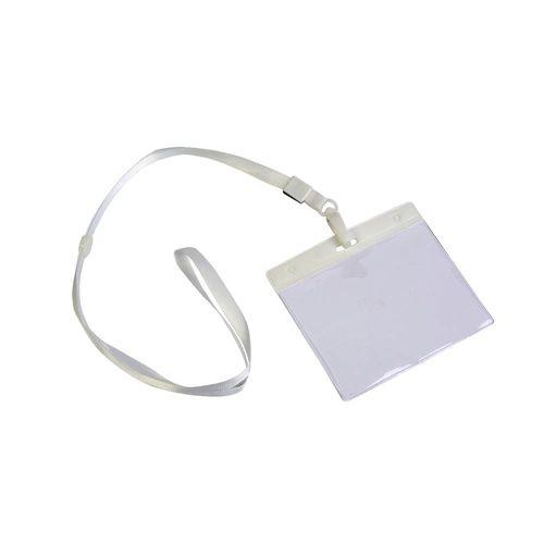 Lanière avec mousqueton et porte-badge en plastique transparent