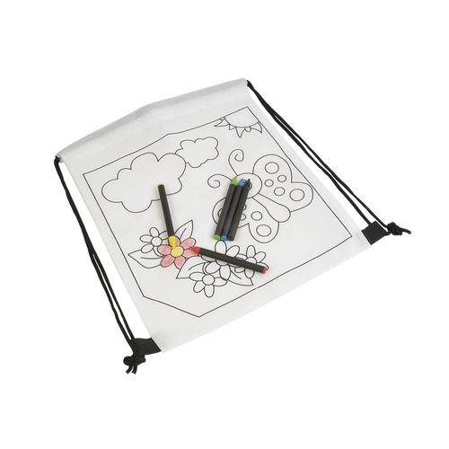 Set de 5 crayons de couleurs à la cire de forme cylindrique, dans un mini sac à dos en TNT à colorier