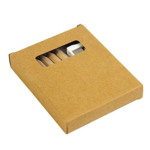 Set composé de 6 crayons en bois, taille-crayon en plastique et album, dans une boite en carton