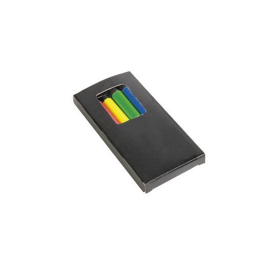 Set de 6 crayons en bois colorés fluo, section cylindrique, dans boite en bois