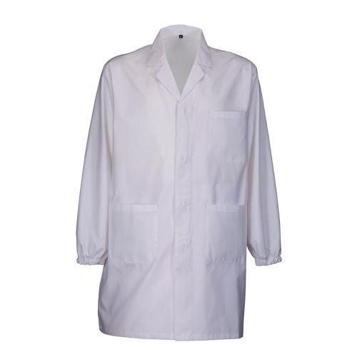 Blouse de travail coton et polyester 145 g/m2, fermeture centrale avec boutons recouverts, 3 poches