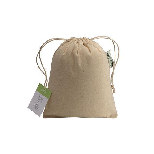 Pochon cadeau en coton organique, 140 g/m2, 15 x 20 cm