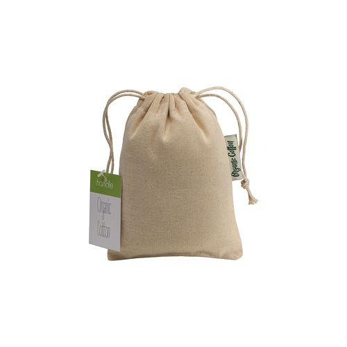 Pochon cadeau en coton organique, 140 g/m2, 10 x 14 cm