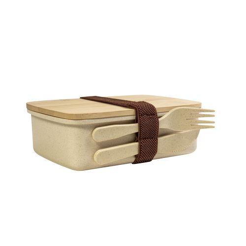 Lunch box en fibre de bambou et PP, couvercle en bambou