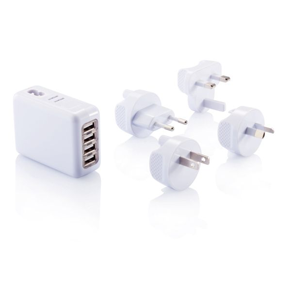 Adaptateur de voyage avec 4 ports USB, Objet personnalisable, comité social économique