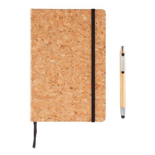 Carnet de notes en liège avec stylo en bambou A5  personnalisé montpellier Paris Ile de France