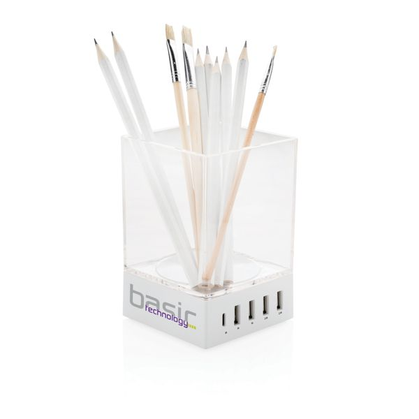 Cargador USB y soporte para bolígrafos  Regalos Promocionales personalizados para Empresas