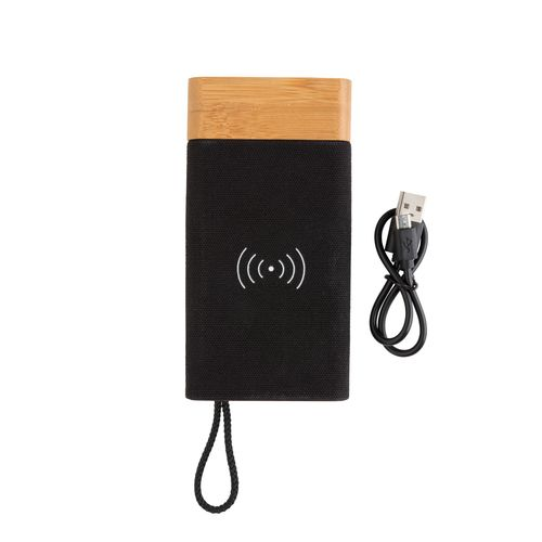 5.000 mAh Bamboo X wireless charging powerbank PERSONAL GIFTS AZAP  branded Personalized Printed Goodies by Azap Business Gift