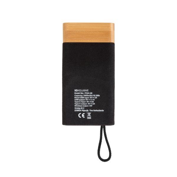 Batterie de secours 5000mAh à induction 5W Bamboo X CADEAUX NOMINATIFS AZAP  Objets publicitaires personnalisé par Azap articles promotionnels Cadeau d'affaire