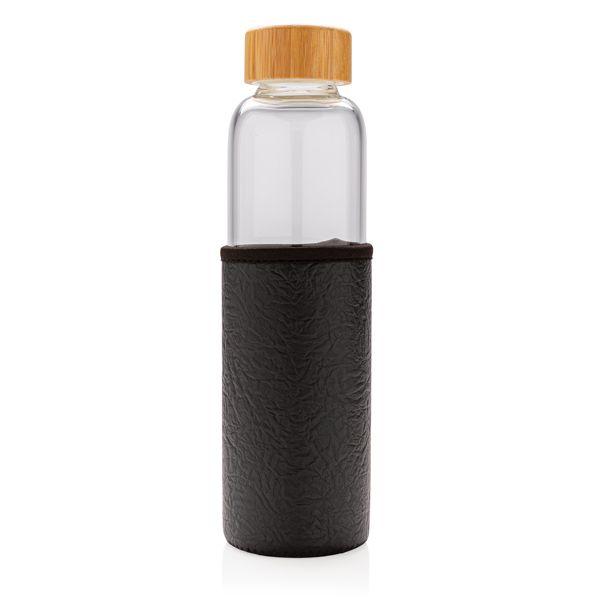 Bouteille en verre borosilicaté avec housse texturé, Objet personnalisable, comité social économique