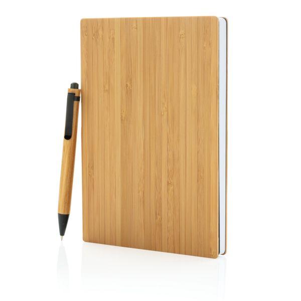 Set carnets de notes A5 et stylo en bambou, Objet personnalisable, comité social économique