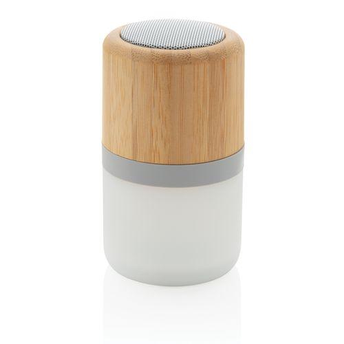 Enceinte 3W en bambou avec lumière d'ambiance