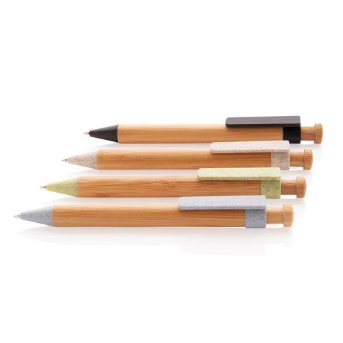 Stylo en bambou avec clip en fibre de paille - ISOCOM - OBJETS ET TEXTILES PERSONNALISES - NANTES