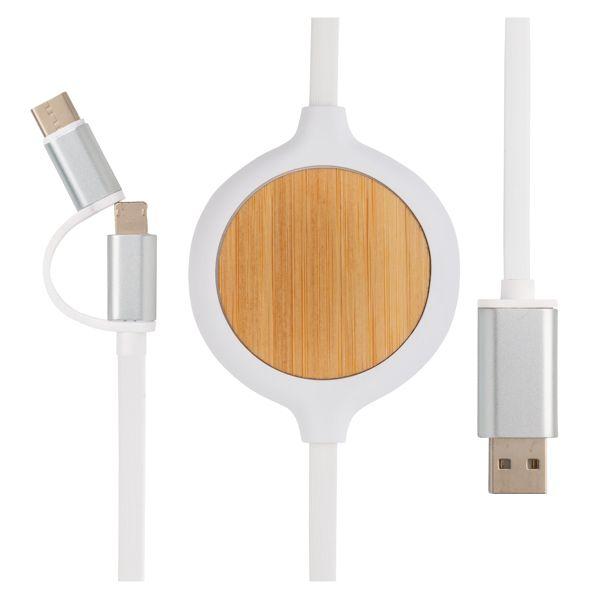 Câble 3 en 1 avec chargeur sans fil en Bambou 5W