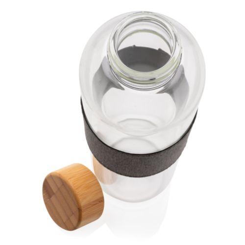 Bouteille en verre avec couvercle en bambou Impact ECO AZAP  Objets publicitaires personnalisé par Azap articles promotionnels Cadeau d'affaire