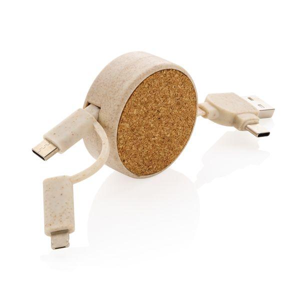 Câble rétractable 6 en 1 en liège et fibre de paille, Objet personnalisable, comité social économique