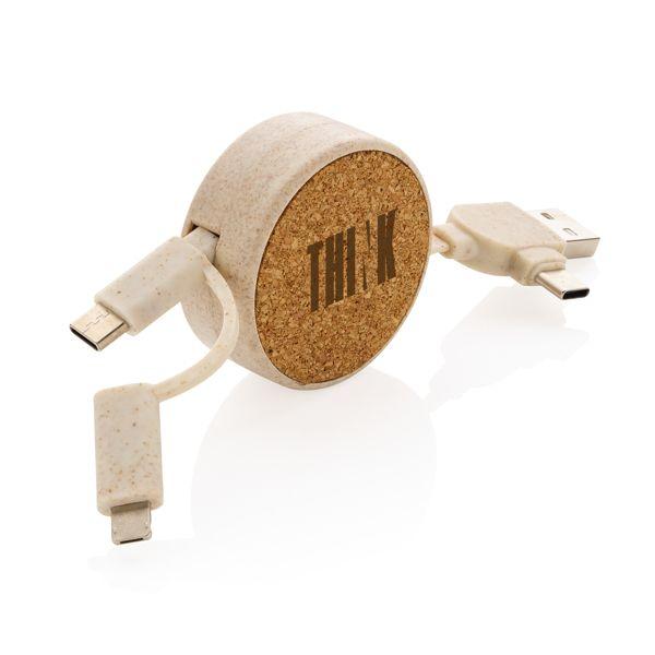 Câble rétractable 6 en 1 en liège et fibre de paille par EG Diffusion 07210 BAIX Objets publicitaires et Cadeaux d'affaires Textile, PLV, Goodies, vêtement de travail, objets éco et durables , stylos , USB, multimédia