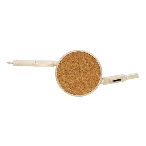 Câble rétractable 6 en 1 en liège et fibre de paille  personnalisé montpellier Paris Ile de France