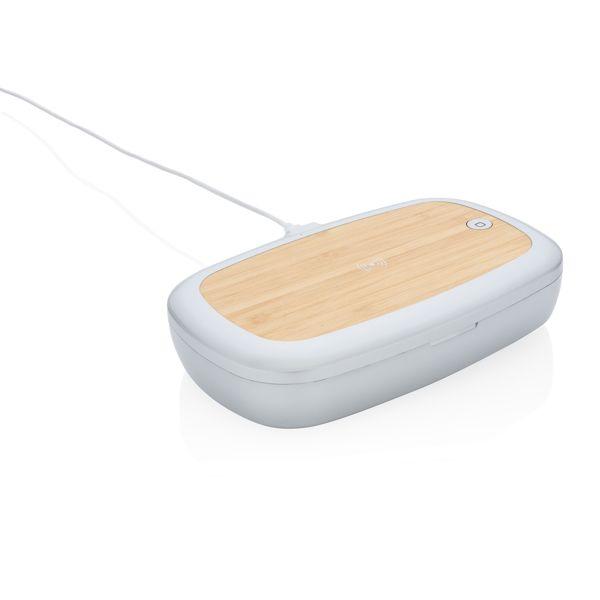 Boîte de stérilisation UV-C avec chargeur sans fil 5W Rena, Objet personnalisable, comité social économique