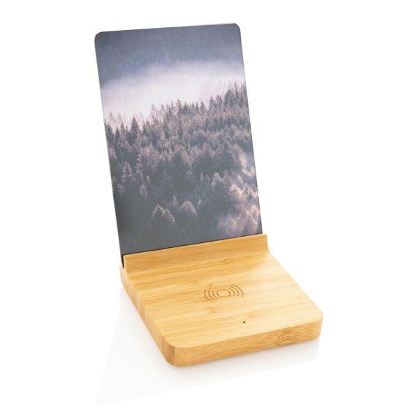 Cadre photo avec chargeur sans fil 5W en bambou, Objet personnalisable, comité social économique