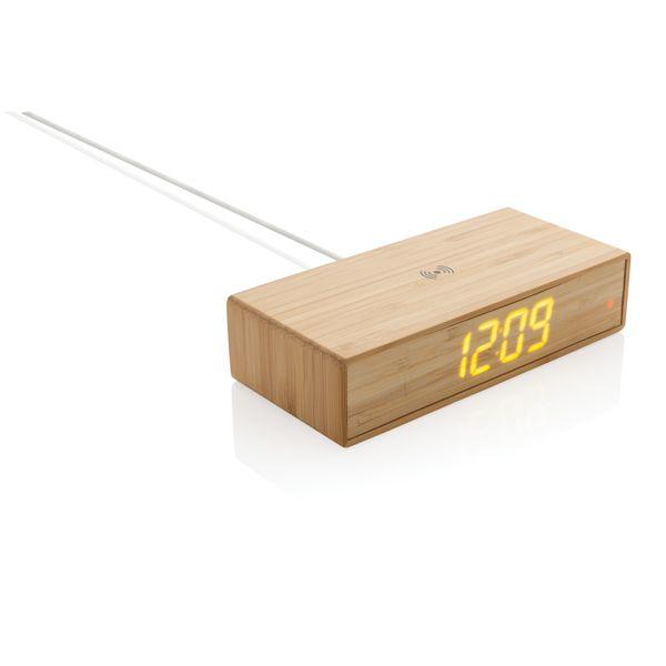 Réveil en bambou avec chargeur sans fil 5W, Objet personnalisable, comité social économique