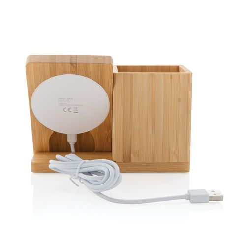Cargador inalámbrico 5W Calgary de bambú con soporte bolígra  Regalos Promocionales personalizados para Empresas