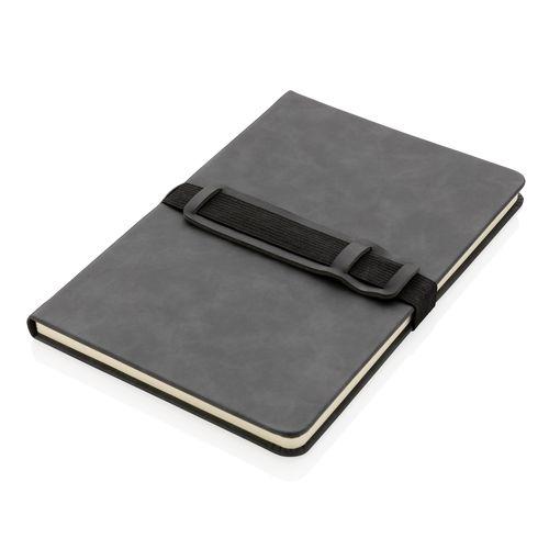 Carnet de notes A5 en PU avec porte téléphone et porte stylo