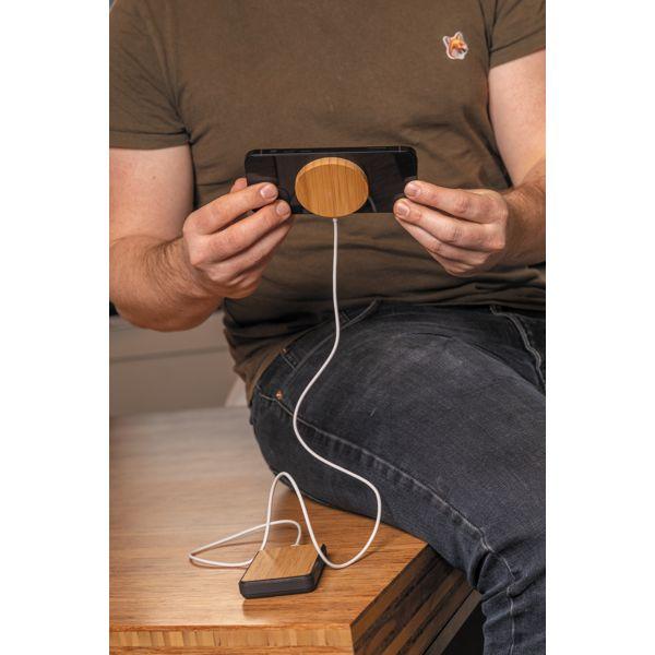 Chargeur magnétique sans fil en bambou 10W