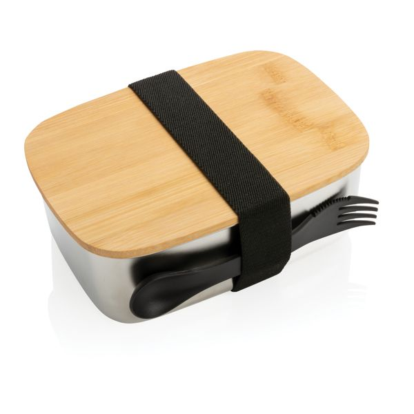 Boîte à Lunch en acier avec couvercle en bambou et cuichette, Objet personnalisable, comité social économique