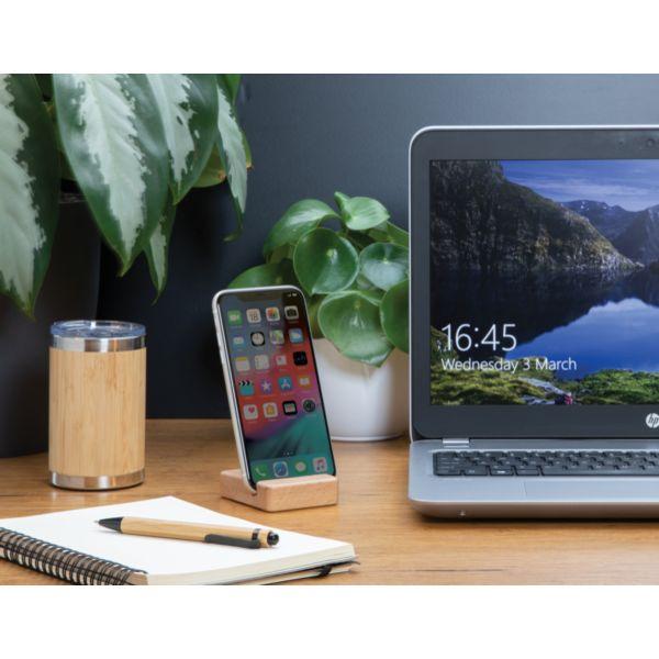 Support téléphone en bambou par EG Diffusion 07210 BAIX Objets publicitaires et Cadeaux d'affaires Textile, PLV, Goodies, vêtement de travail, objets éco et durables , stylos , USB, multimédia