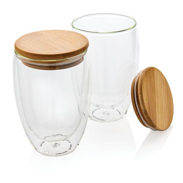 Borosilikaattilasinen lasi bambukannella 350ml 2kpl