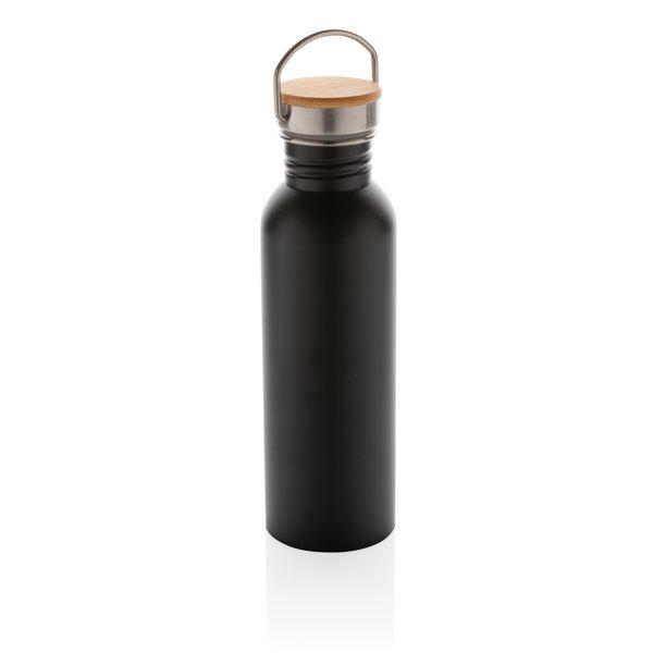 Pullo ruostumattomasta teräksestä bambukannella