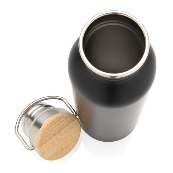 Bouteille en acier inoxydable avec couvercle en bambou objet publicitaire original