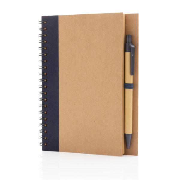 Cahier à spirales kraft avec stylo, Objet personnalisable, comité social économique