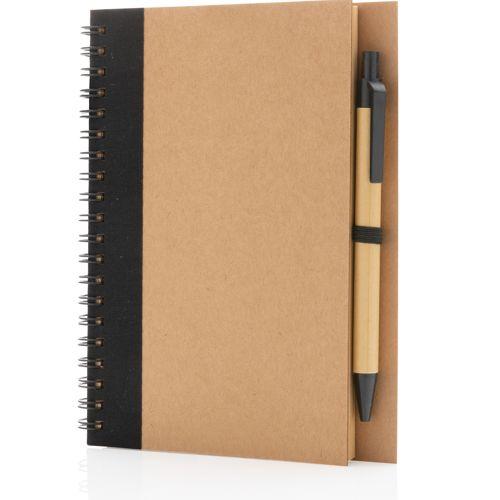 Cahier à spirales kraft avec stylo
