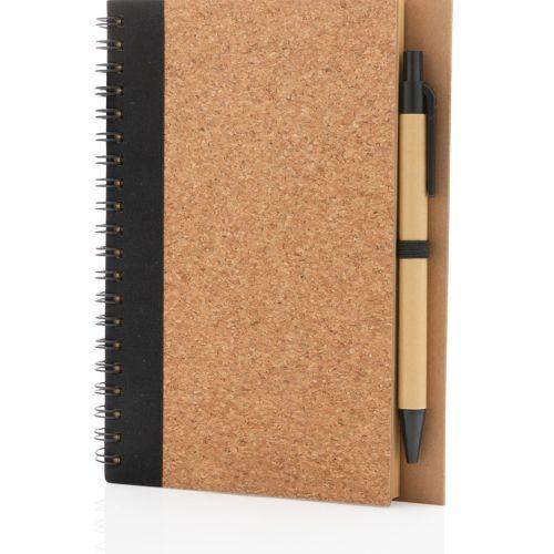 Cahier à spirales en liège avec stylo
