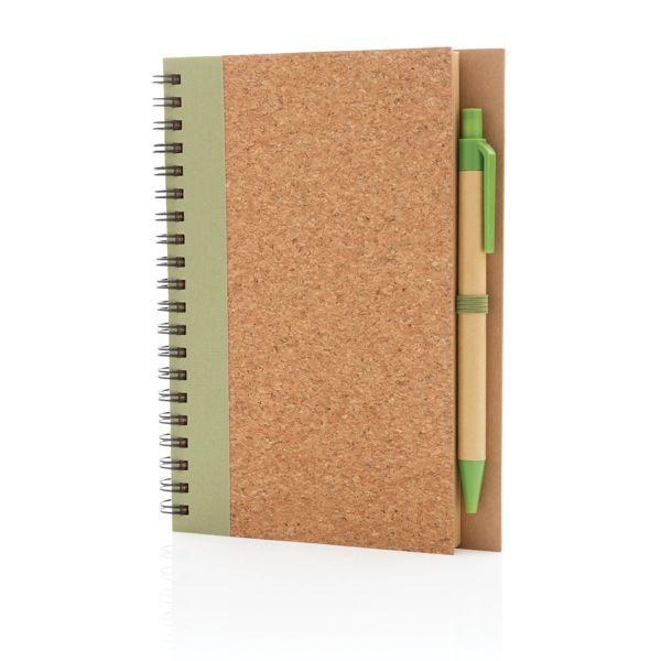 Cahier à spirales en liège avec stylo, Objet personnalisable, comité social économique