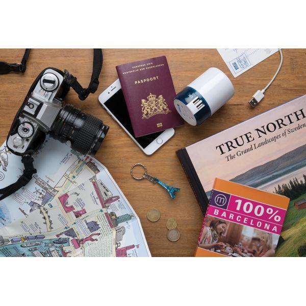 Set d'adaptateurs de voyage avec port USB Travel Blue